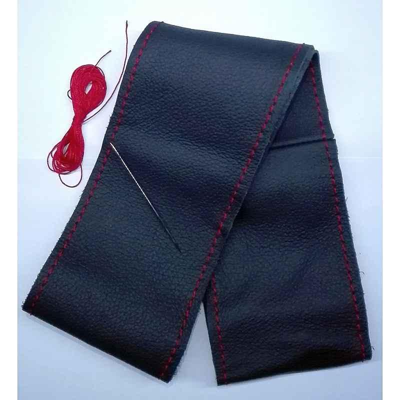 Калъф за волан черен с червен шев, червен конец размер S